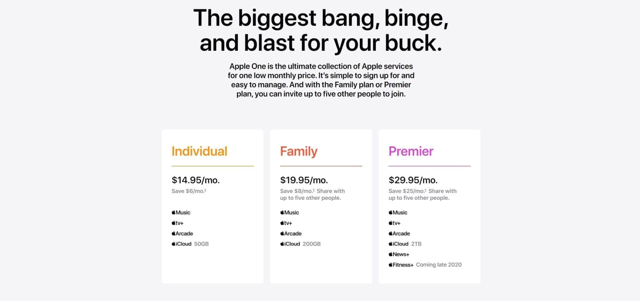 התוכניות והמחירים של Apple One
